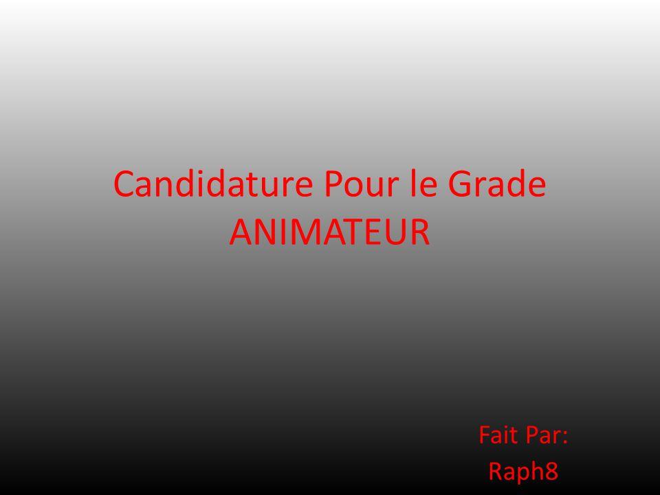 Candidature Pour le Grade ANIMATEUR Fait Par: Raph8