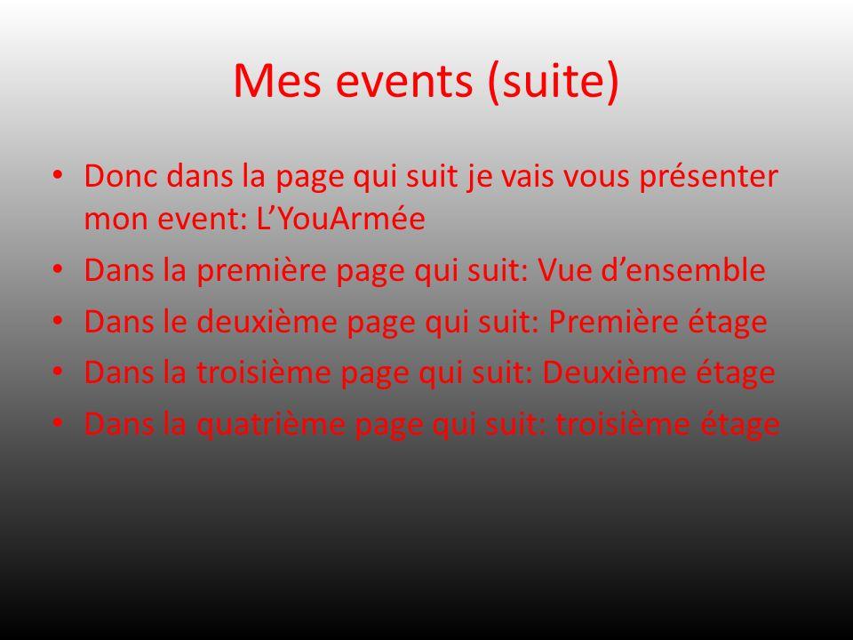 Mes events (suite) Donc dans la page qui suit je vais vous présenter mon event: LYouArmée Dans la première page qui suit: Vue densemble Dans le deuxiè