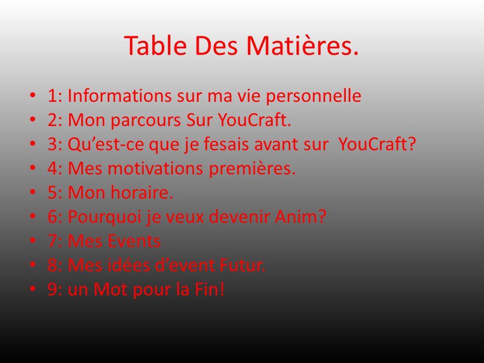 Table Des Matières. 1: Informations sur ma vie personnelle 2: Mon parcours Sur YouCraft. 3: Quest-ce que je fesais avant sur YouCraft? 4: Mes motivati