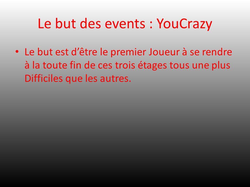 Le but des events : YouCrazy Le but est dêtre le premier Joueur à se rendre à la toute fin de ces trois étages tous une plus Difficiles que les autres