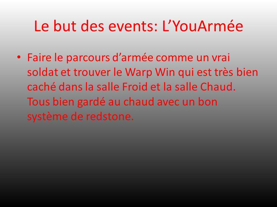 Le but des events: LYouArmée Faire le parcours darmée comme un vrai soldat et trouver le Warp Win qui est très bien caché dans la salle Froid et la sa