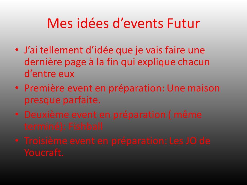 Mes idées devents Futur Jai tellement didée que je vais faire une dernière page à la fin qui explique chacun dentre eux Première event en préparation: