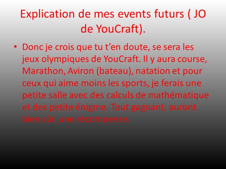 Explication de mes events futurs ( JO de YouCraft). Donc je crois que tu ten doute, se sera les jeux olympiques de YouCraft. Il y aura course, Maratho