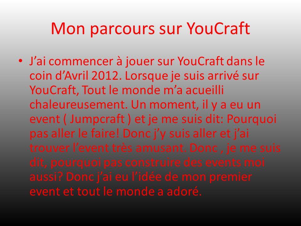 Mon parcours sur YouCraft Jai commencer à jouer sur YouCraft dans le coin dAvril 2012. Lorsque je suis arrivé sur YouCraft, Tout le monde ma acueilli