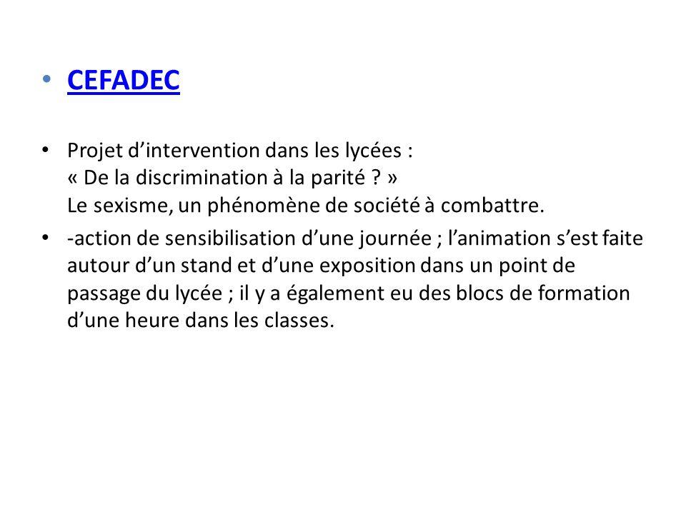 CEFADEC Projet dintervention dans les lycées : « De la discrimination à la parité .