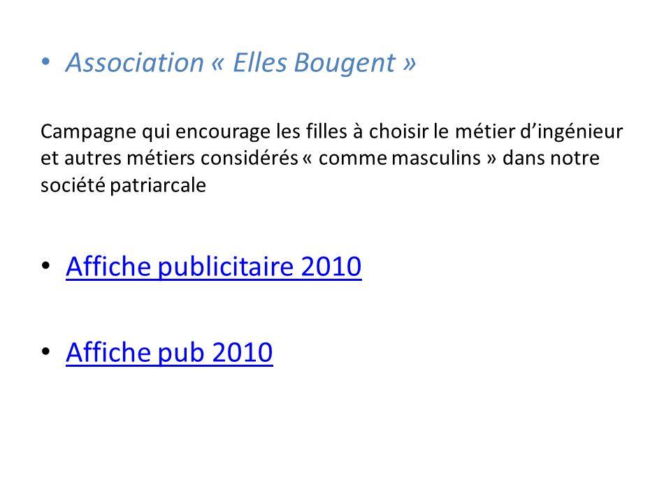 Association « Elles Bougent » Campagne qui encourage les filles à choisir le métier dingénieur et autres métiers considérés « comme masculins » dans notre société patriarcale Affiche publicitaire 2010 Affiche pub 2010