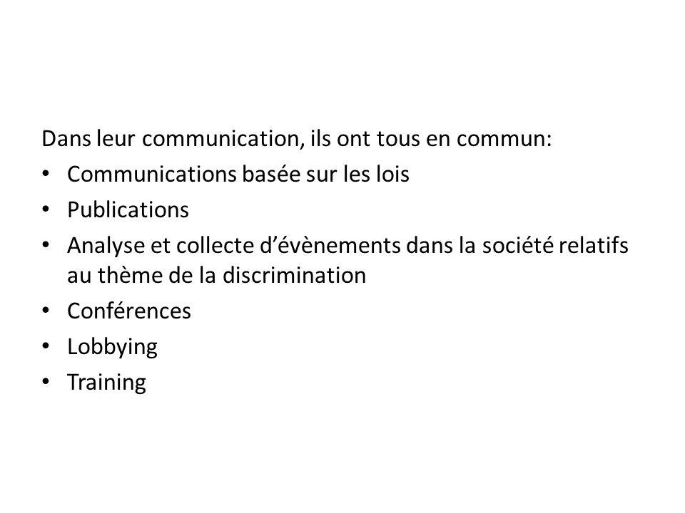 Dans leur communication, ils ont tous en commun: Communications basée sur les lois Publications Analyse et collecte dévènements dans la société relatifs au thème de la discrimination Conférences Lobbying Training