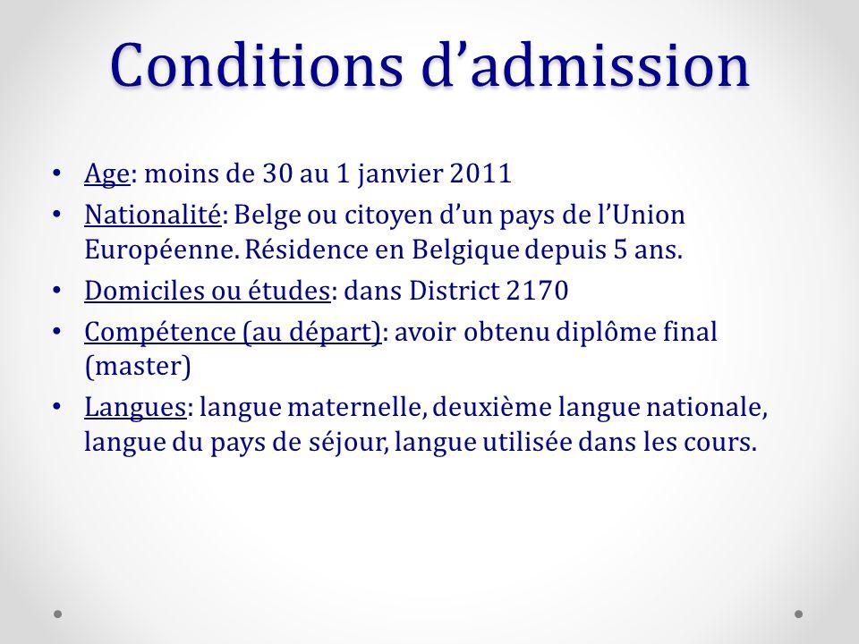 Conditions dadmission Age: moins de 30 au 1 janvier 2011 Nationalité: Belge ou citoyen dun pays de lUnion Européenne.