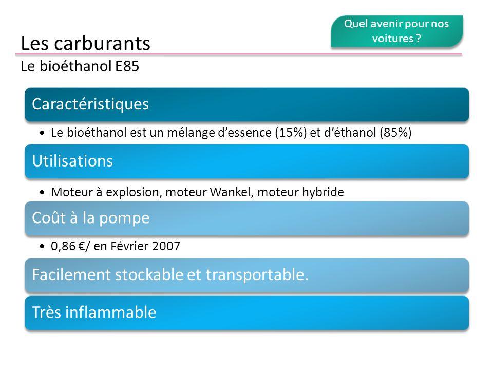 Les carburants Le bioéthanol E85 Caractéristiques Le bioéthanol est un mélange dessence (15%) et déthanol (85%) Utilisations Moteur à explosion, moteu