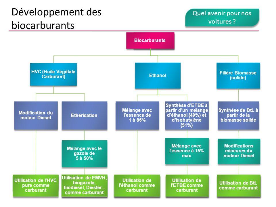Développement des biocarburants Biocarburants Filière Biomasse (solide) Modification du moteur Diesel HVC (Huile Végétale Carburant) Mélange avec l'es