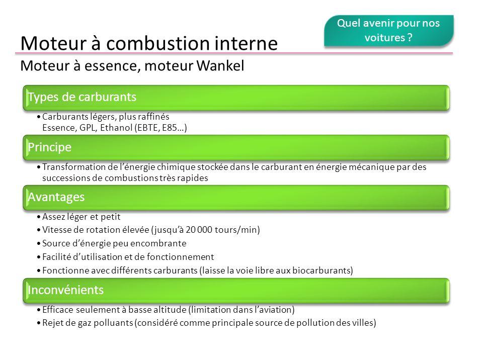 Moteur à combustion interne Moteur à essence, moteur Wankel Types de carburants Carburants légers, plus raffinés Essence, GPL, Ethanol (EBTE, E85…) Pr