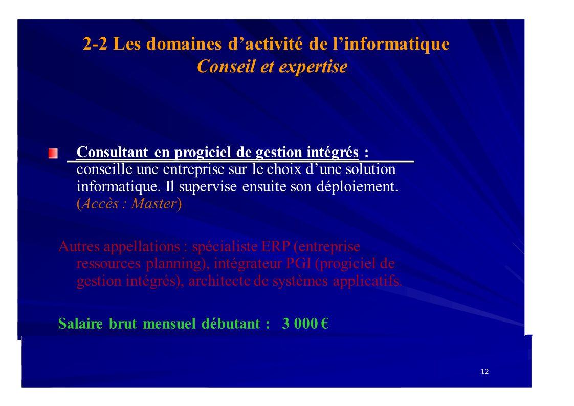 2-2 Les domaines dactivité de linformatique Conseil et expertise Consultant en progiciel de gestion intégrés : conseille une entreprise sur le choix d
