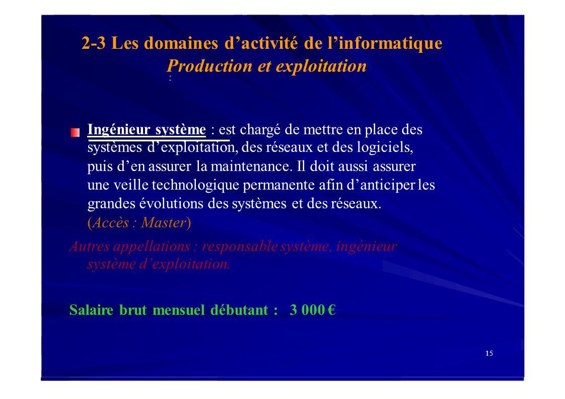 2-3 Les domaines dactivité de linformatique Production et exploitation : Ingénieur système : est chargé de mettre en place des systèmes dexploitation,
