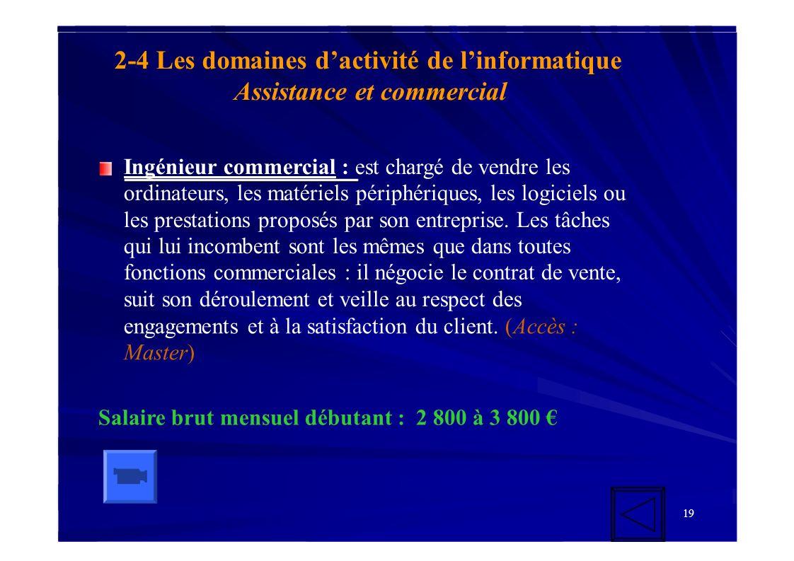 19 2-4 Les domaines dactivité de linformatique Assistance et commercial Ingénieur commercial : est chargé de vendre les ordinateurs, les matériels pér