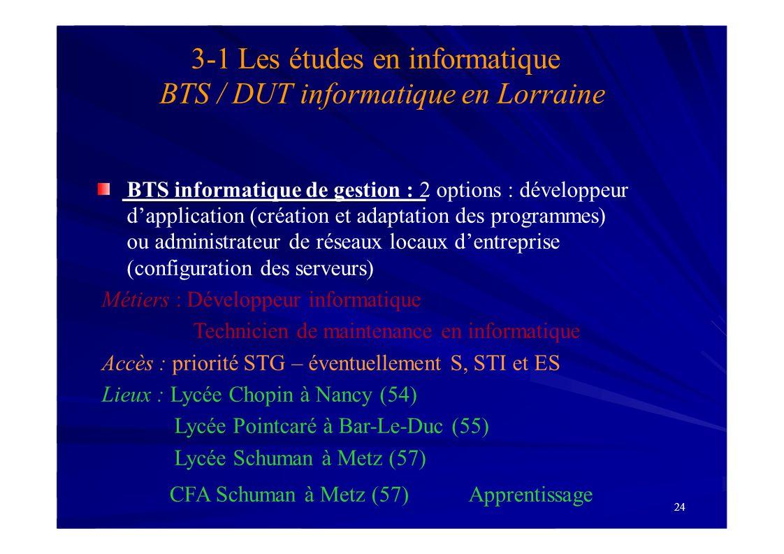 24 3-1 Les études en informatique BTS / DUT informatique en Lorraine BTS informatique de gestion : 2 options : développeur dapplication (création et a
