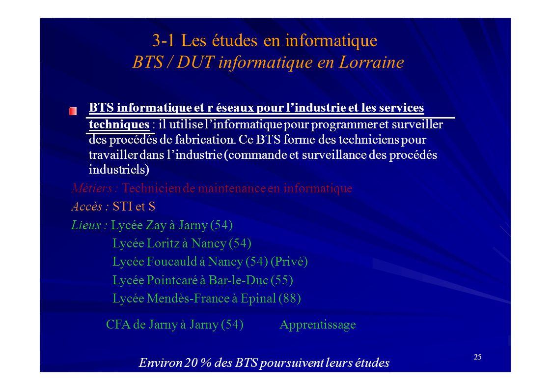 25 3-1 Les études en informatique BTS / DUT informatique en Lorraine BTS informatique et r éseaux pour lindustrie et les services techniques : il util