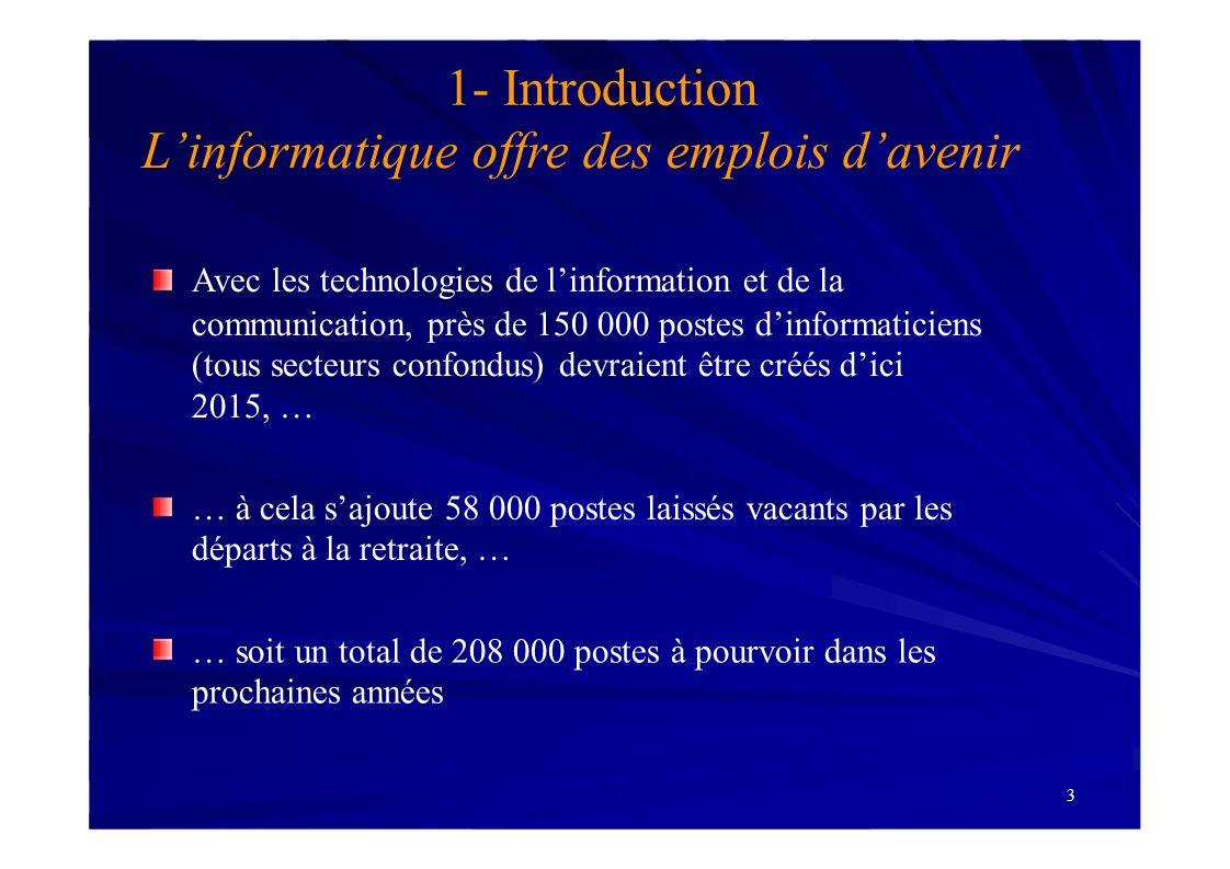 3 1- Introduction Linformatique offre des emplois davenir Avec les technologies de linformation et de la communication, près de 150 000 postes dinform