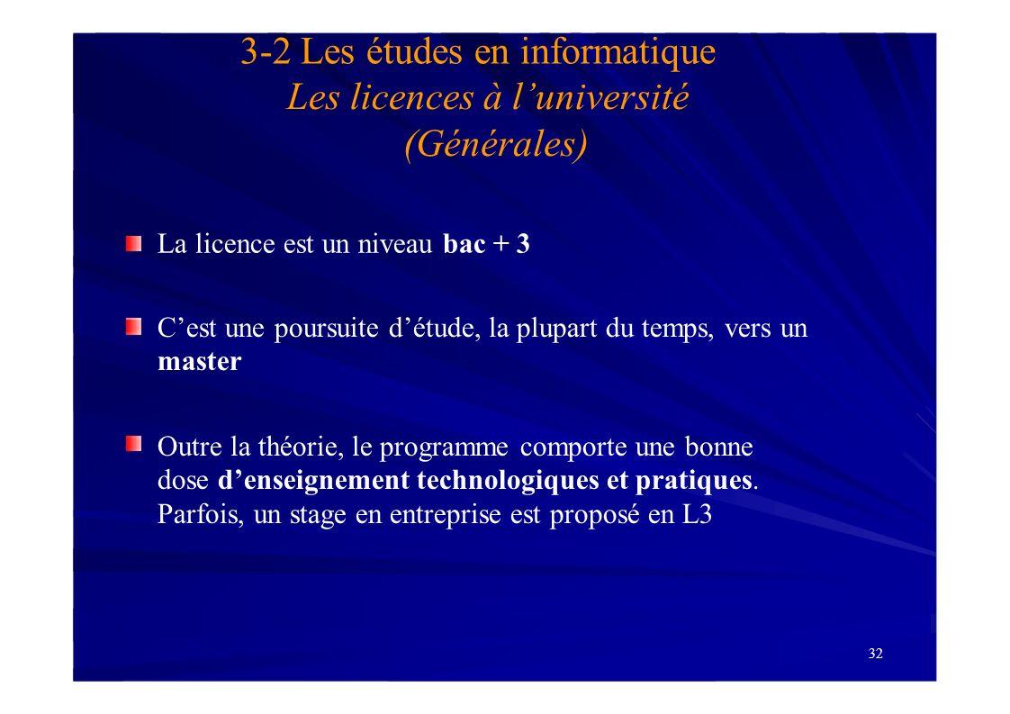 32 3-2 Les études en informatique Les licences à luniversité (Générales) La licence est un niveau bac + 3 Cest une poursuite détude, la plupart du tem