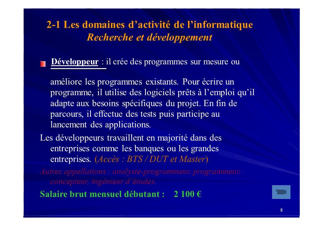 19 2-4 Les domaines dactivité de linformatique Assistance et commercial Ingénieur commercial : est chargé de vendre les ordinateurs, les matériels périphériques, les logiciels ou les prestations proposés par son entreprise.