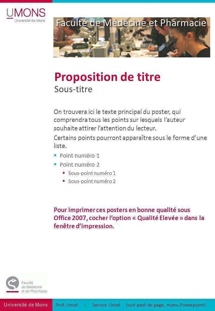 Université de Mons Faculté de Médecine et Pharmacie Sous-titre Proposition de titre On trouvera ici le texte principal du poster, qui comprendra tous