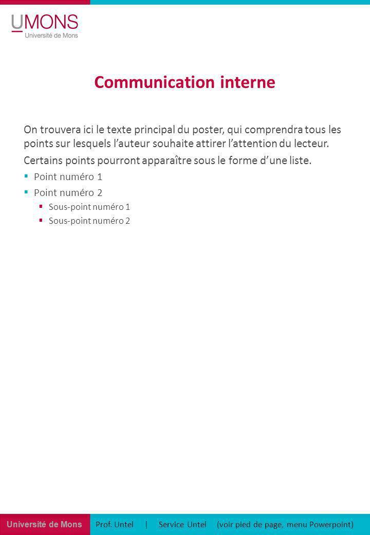 Université de Mons Communication interne Prof. Untel | Service Untel (voir pied de page, menu Powerpoint) On trouvera ici le texte principal du poster