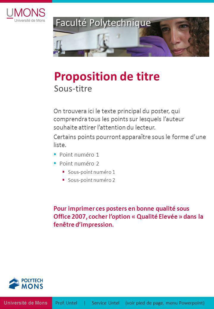 Université de Mons Faculté Polytechnique Prof. Untel | Service Untel (voir pied de page, menu Powerpoint) Sous-titre Proposition de titre On trouvera