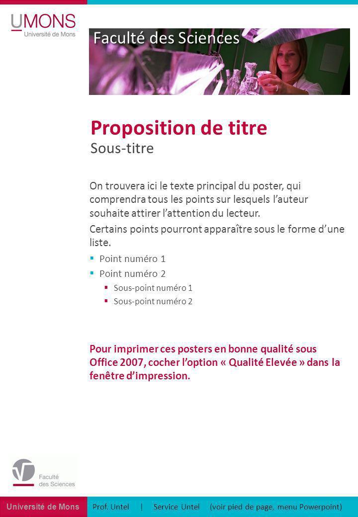 Université de Mons Faculté des Sciences Prof. Untel | Service Untel (voir pied de page, menu Powerpoint) Sous-titre Proposition de titre On trouvera i