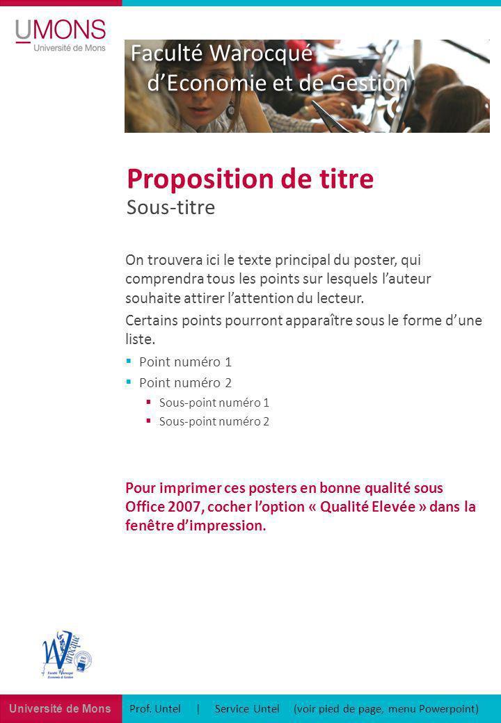 Université de Mons Institut des Sciences du Langage Prof.