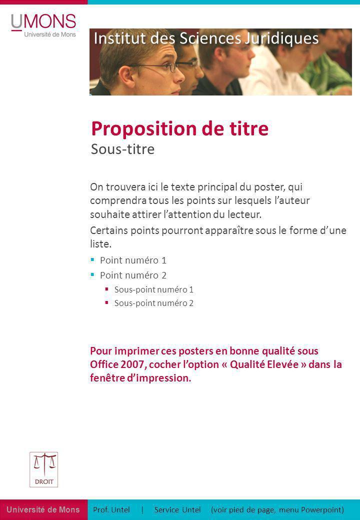 Université de Mons Institut des Sciences Juridiques Prof. Untel | Service Untel (voir pied de page, menu Powerpoint) Sous-titre Proposition de titre O