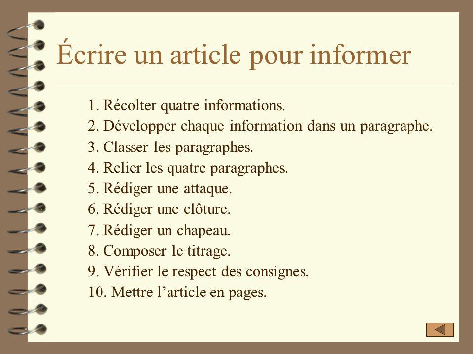 Voici une présentation des différentes étapes à parcourir pour rédiger un article pour informer. Écrire un article pour informer Pour passer à la diap
