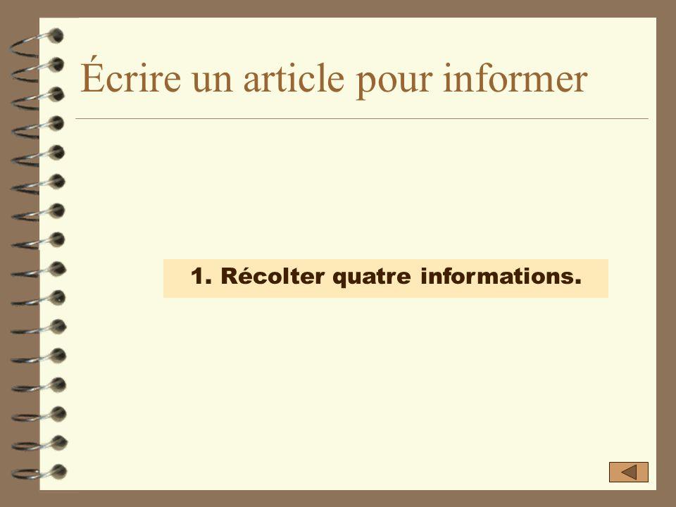 Écrire un article pour informer 1. Récolter quatre informations. 2. Développer chaque information dans un paragraphe. 3. Classer les paragraphes. 4. R