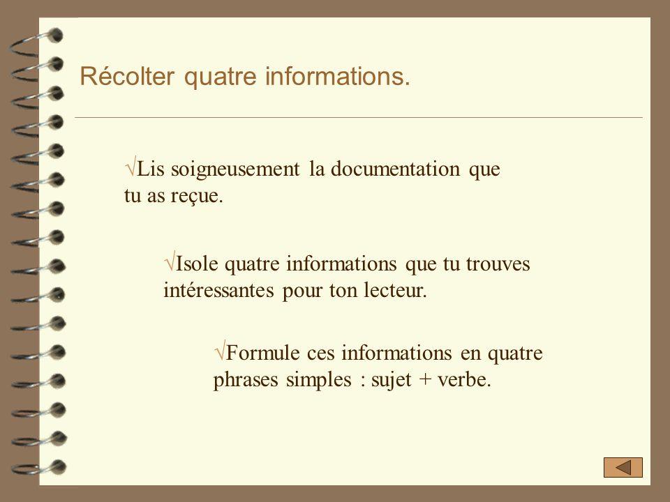 Récolter quatre informations. 4 Les informations te sont proposées par le professeur dans un document. 4 Rappel : chaque information se présente en de