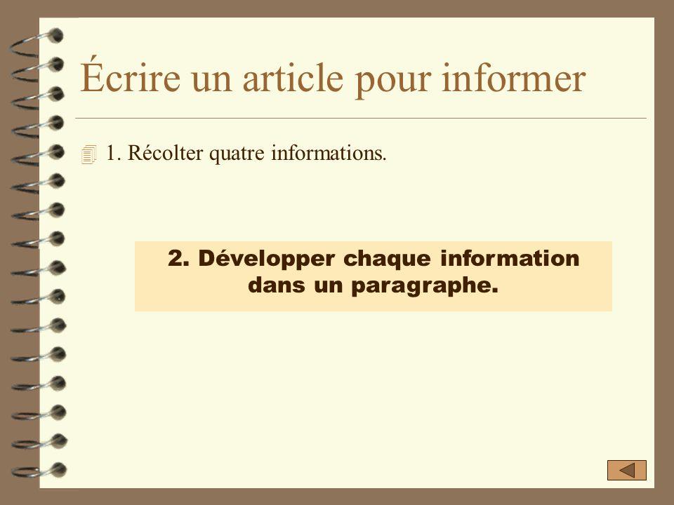 Récolter quatre informations. Lis soigneusement la documentation que tu as reçue. Formule ces informations en quatre phrases simples : sujet + verbe.