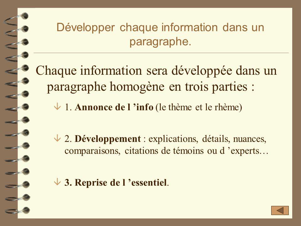 Développer chaque information dans un paragraphe.