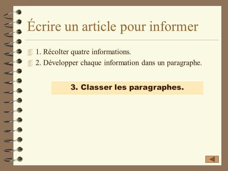 Développer chaque information dans un paragraphe. Chaque information sera développée dans un paragraphe homogène en trois parties : â 3. Reprise de l