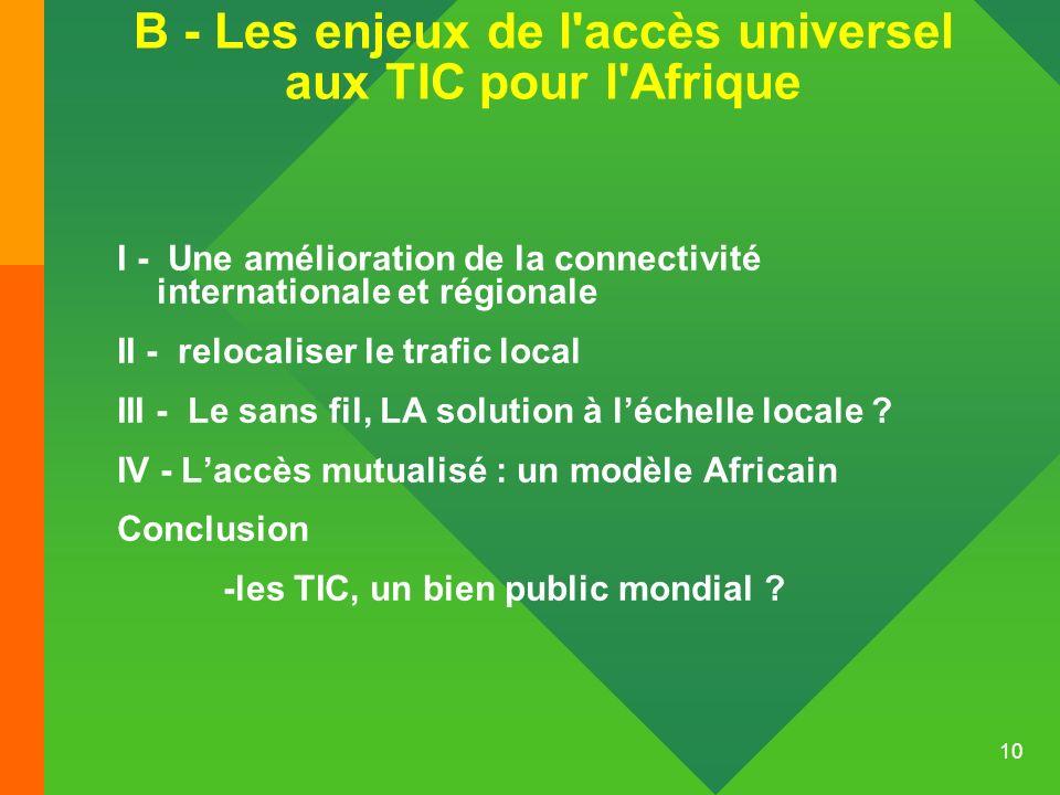 10 B - Les enjeux de l'accès universel aux TIC pour l'Afrique I - Une amélioration de la connectivité internationale et régionale II - relocaliser le