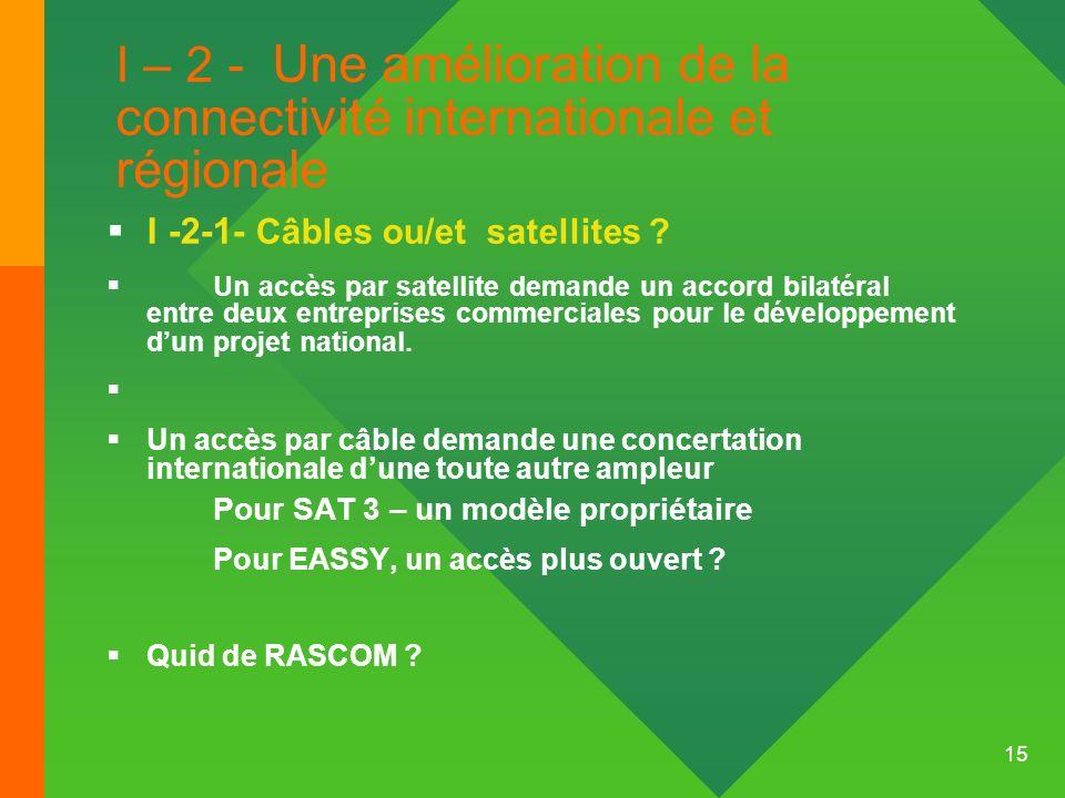 15 I – 2 - Une amélioration de la connectivité internationale et régionale I -2-1- Câbles ou/et satellites ? Un accès par satellite demande un accord