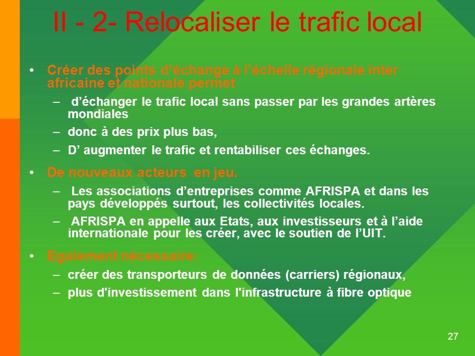 27 II - 2- Relocaliser le trafic local Créer des points déchange à léchelle régionale inter africaine et nationale permet – déchanger le trafic local