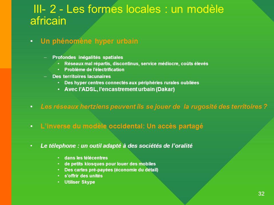 32 III- 2 - Les formes locales : un modèle africain Un phénomène hyper urbain –Profondes inégalités spatiales Réseaux mal répartis, discontinus, servi