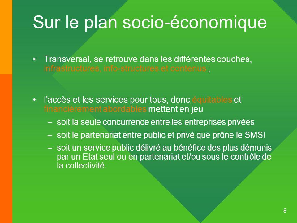 9 Le plan daction du SMSI préconise de sen remettre au jeu du marché ….