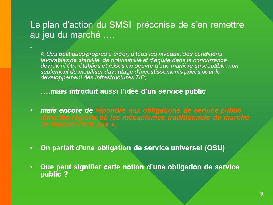 9 Le plan daction du SMSI préconise de sen remettre au jeu du marché …. « Des politiques propres à créer, à tous les niveaux, des conditions favorable