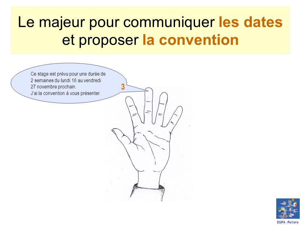 Le majeur pour communiquer les dates et proposer la convention Ce stage est prévu pour une durée de 2 semaines du lundi 16 au vendredi 27 novembre prochain.