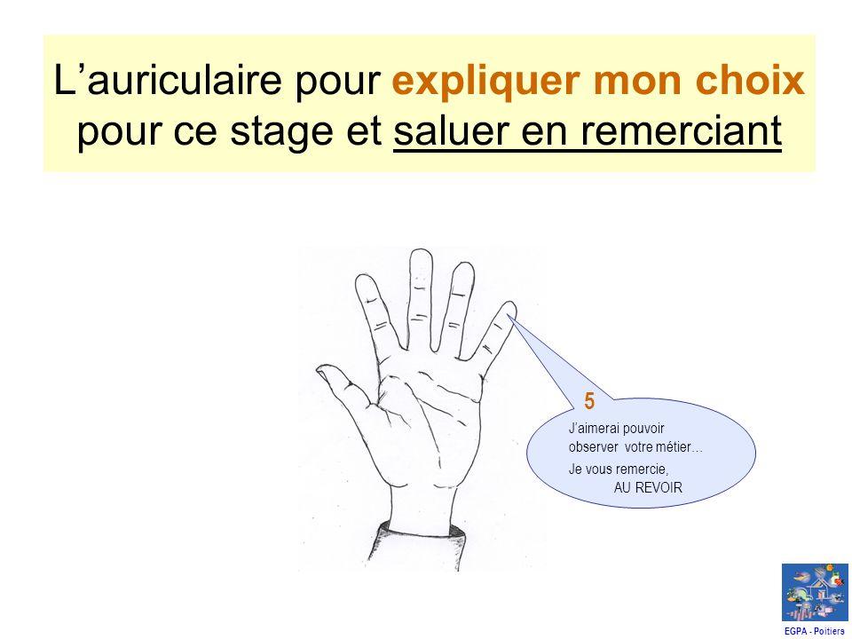 Lauriculaire pour expliquer mon choix pour ce stage et saluer en remerciant Jaimerai pouvoir observer votre métier… Je vous remercie, AU REVOIR 5 EGPA - Poitiers