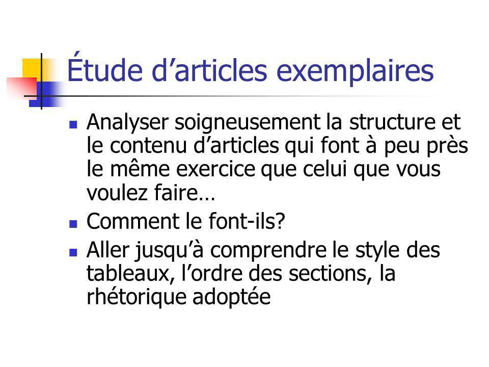 Étude darticles exemplaires Analyser soigneusement la structure et le contenu darticles qui font à peu près le même exercice que celui que vous voulez