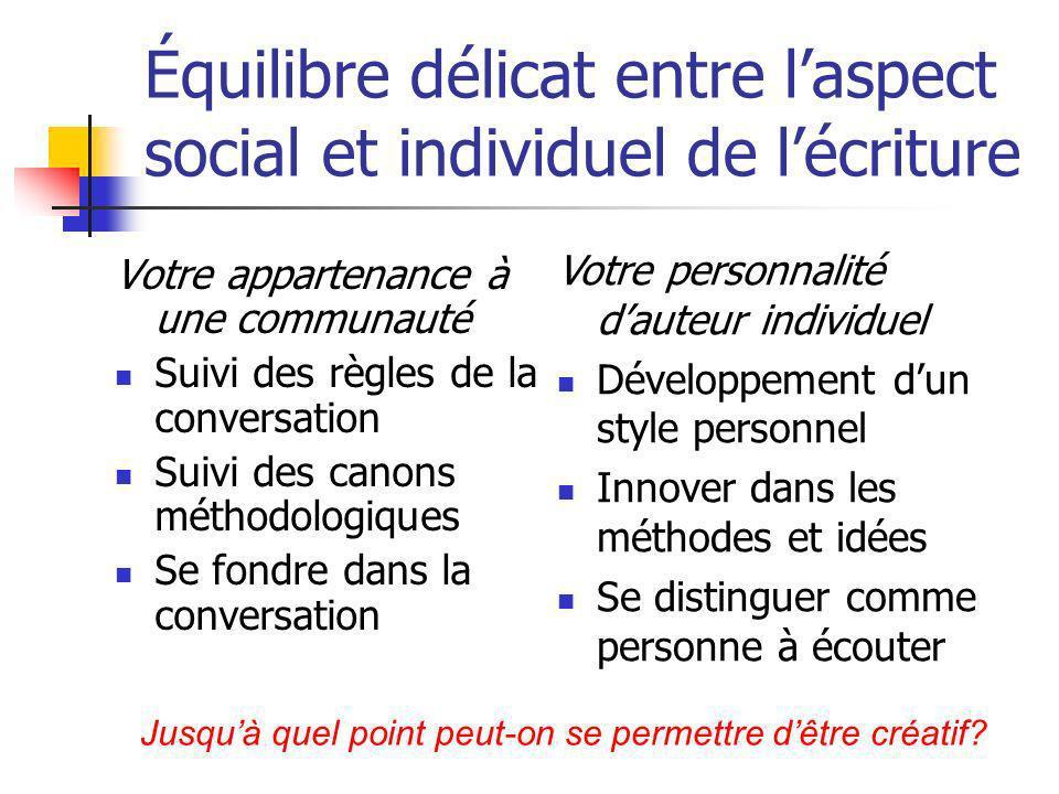 Équilibre délicat entre laspect social et individuel de lécriture Votre appartenance à une communauté Suivi des règles de la conversation Suivi des ca