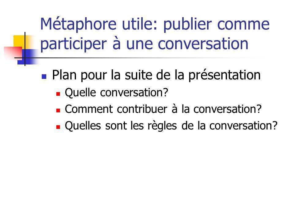 Métaphore utile: publier comme participer à une conversation Plan pour la suite de la présentation Quelle conversation? Comment contribuer à la conver