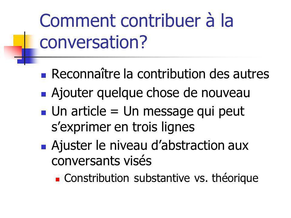 Comment contribuer à la conversation? Reconnaître la contribution des autres Ajouter quelque chose de nouveau Un article = Un message qui peut sexprim