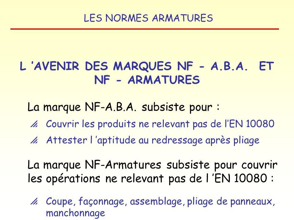 LES NORMES ARMATURES 15/09/2005 : publication de l arrêté et de l avis par le Ministère chargé de lÉquipement LES DATES D APPLICATION 01/02/2007 : le