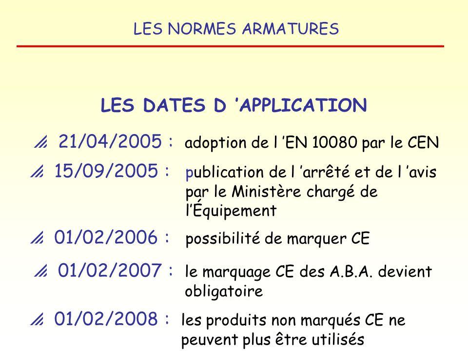 LES NORMES ARMATURES LE CYCLE DES ARMATURES : Produits concernés par le marquage CE Aciers pour béton armé Dispositifs de raboutage ou dancrage des ar