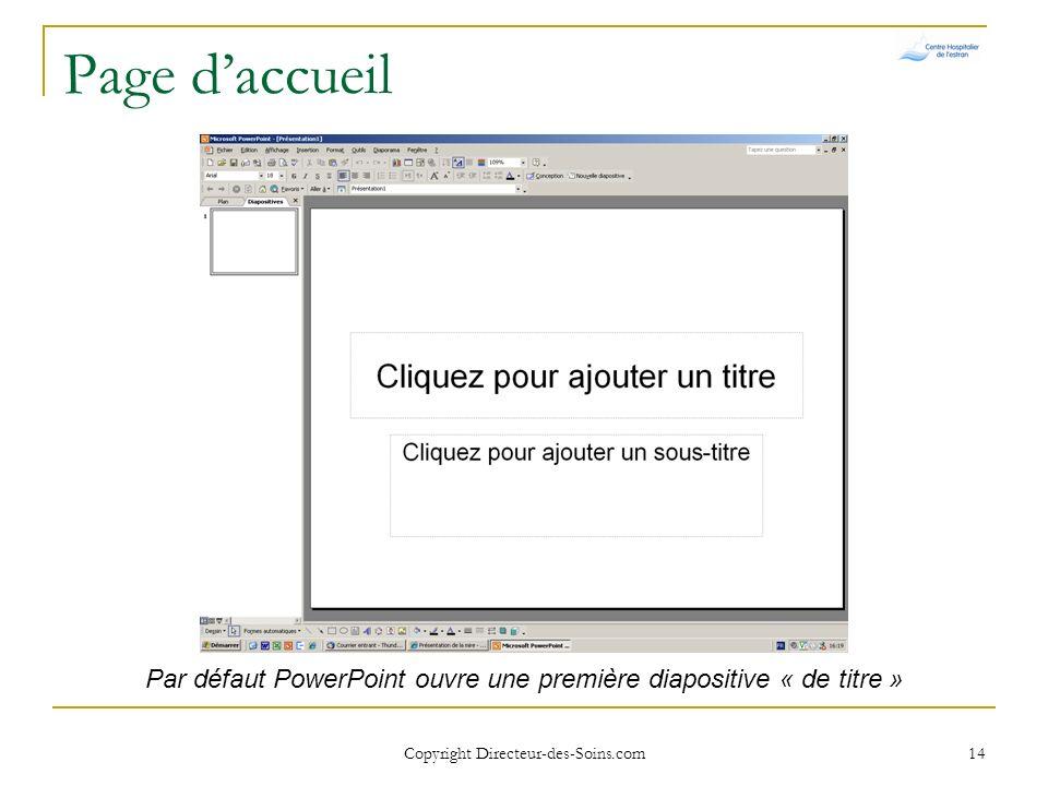 Copyright Directeur-des-Soins.com 13 Fonctionnalités de base Créer un diaporama